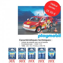 Kit Varta Alcaline High Energy 140 blisters + Pompier Playmobil