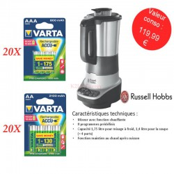 Kit Rechargeable 40 blisters AA & AAA + Blender Russell Hobbs