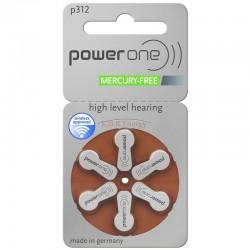 Pile acoustique Zinc-Air 1.4V Power one 312 PR41 (Plaquette de 6)