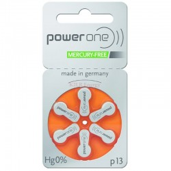Pile acoustique Zinc-Air 1.4V Power one 13 PR48 (Plaquette de 6)