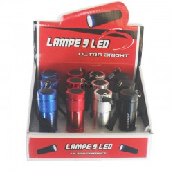 Torche aluminium 9 LEDS. Existe en 4 couleurs  en présentoir de 12.
